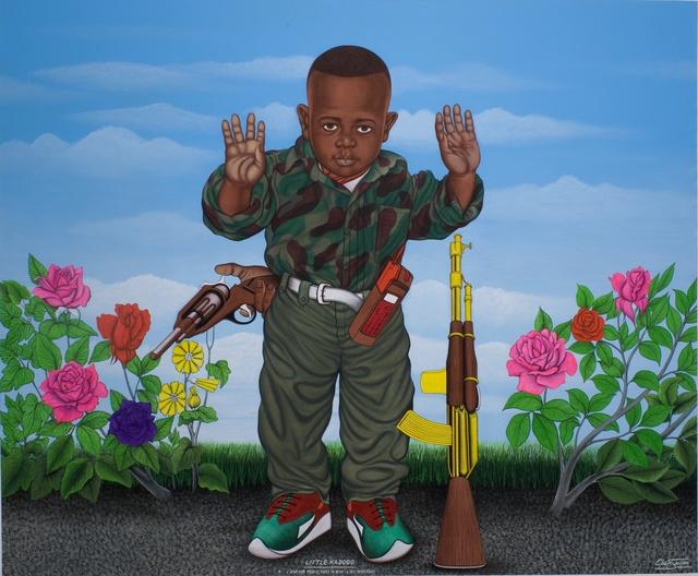 Little Kadogo, I am for Peace, That is Why I Like Weapons, 2004 Acrylic on Canvas 80 51/100 × 96 13/20 × 49/50 in 204.5 × 245.5 × 2.5 cm CAAC The Pigozzi Collection