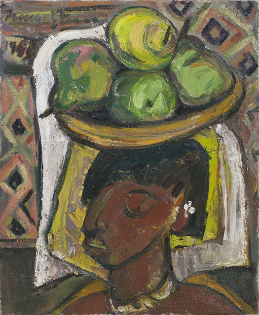 'Fruit seller' Oil on canvas 22 4/5 × 17 1/2 in 58 × 44.5 cm